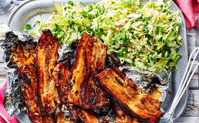 Sweet chilli ribs with coleslaw