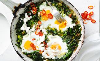 Chilli, spinach and fetta baked eggs