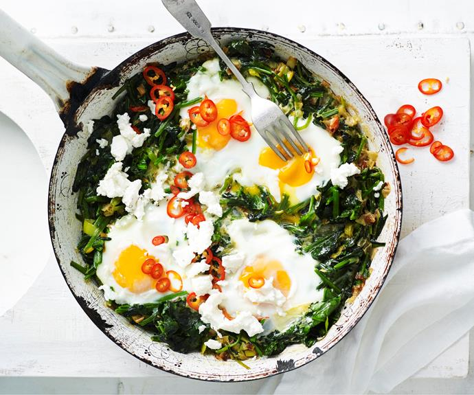 """**[Chilli, spinach and fetta baked eggs](https://www.womensweeklyfood.com.au/recipes/chilli-spinach-and-fetta-baked-eggs-32230