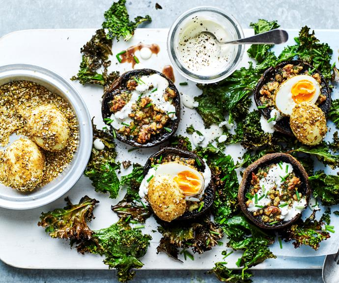 """**[Grilled mushrooms with soft-boiled dukkah eggs and crisp kale](https://www.womensweeklyfood.com.au/recipes/grilled-mushrooms-with-dukkah-eggs-32233