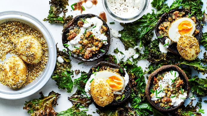 Grilled mushrooms with soft-boiled dukkah eggs and crisp kale
