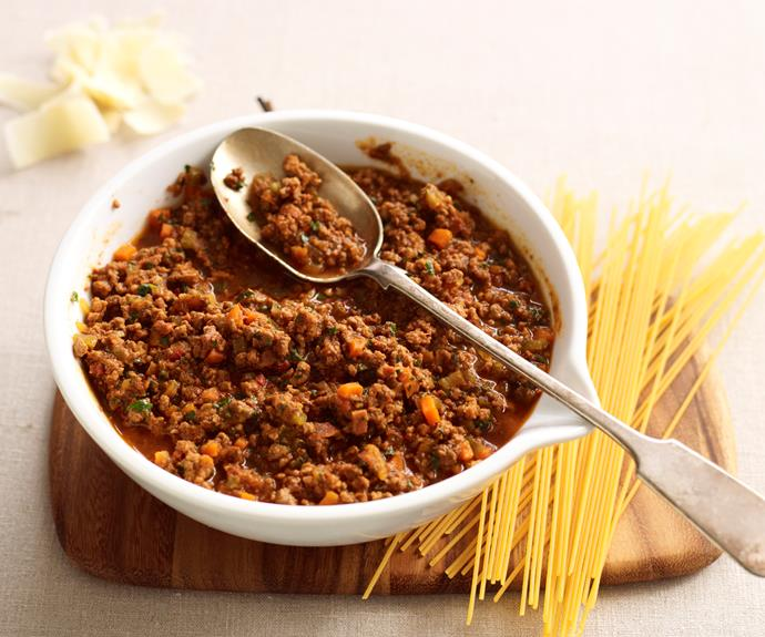 """**[Spaghetti bolognese](https://www.womensweeklyfood.com.au/recipes/spaghetti-bolognese-11346 target=""""_blank"""")**  This dinner winner never fails to delight both young and old in the family."""
