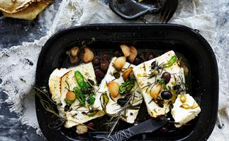BAKED FETTA WITH ROASTED GARLIC, CHILLI & OLIVES
