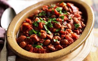 smoky beans with chorizo