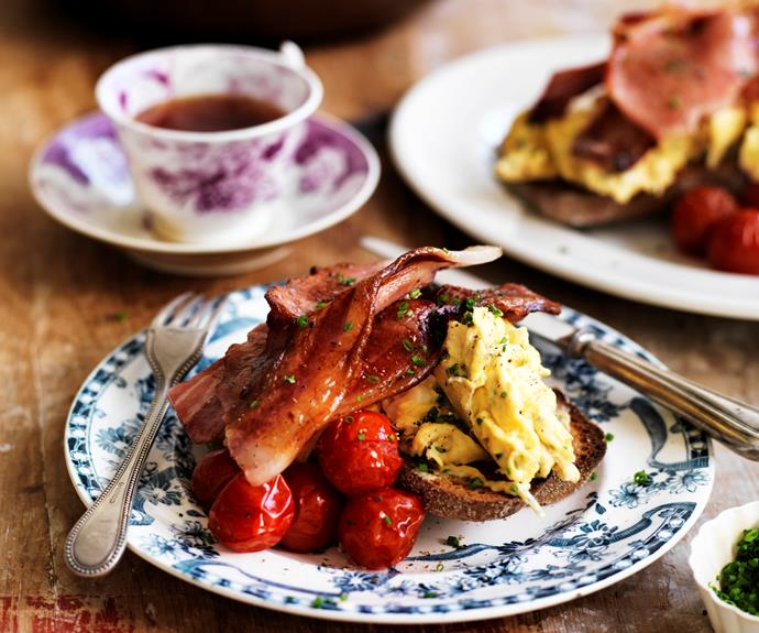 """**[Scrambled eggs with bacon](https://www.womensweeklyfood.com.au/recipes/scrambled-eggs-with-bacon-32239