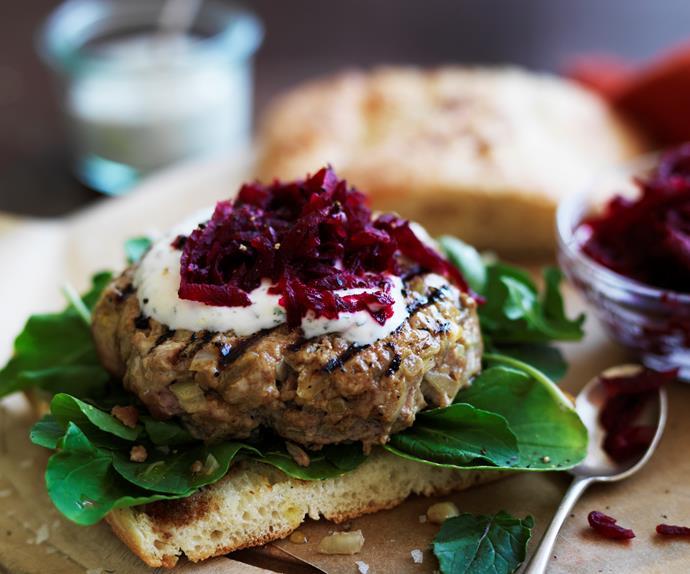 beetroot relish & yogurt lamb burgers