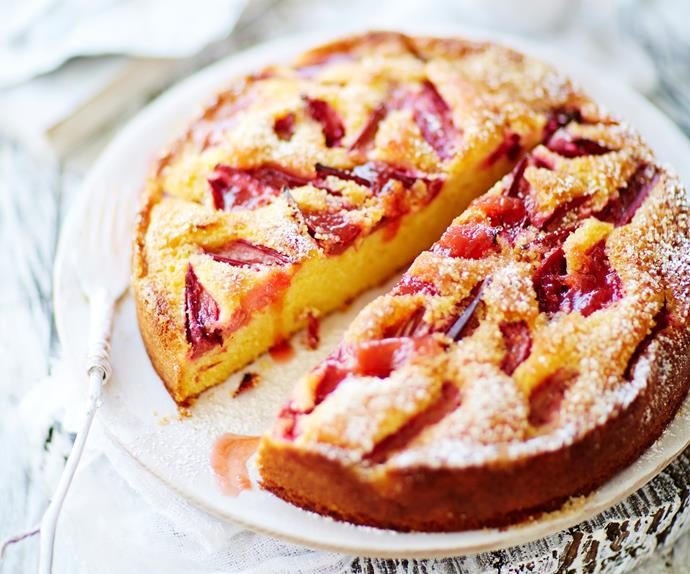 orange, semolina and rhubarb cake