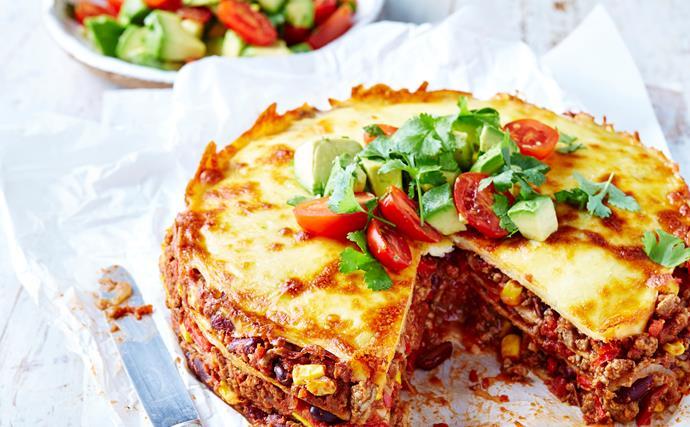 Mexican beef 'lasagne'