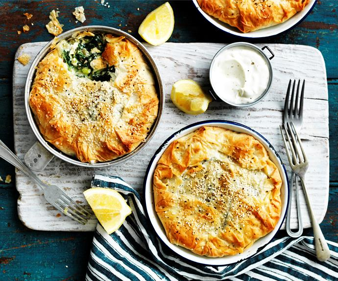 """**[Kale and spinach spanakopitas](https://www.womensweeklyfood.com.au/recipes/kale-and-spinach-spanakopitas-32255