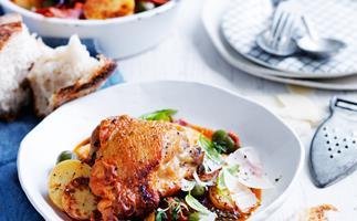 Quick salami and olive chicken cacciatore