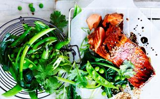 Soy-glazed ocean trout with greens for one
