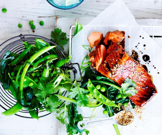 """This slightly sweet [soy-glazed trout with fresh greens](https://www.womensweeklyfood.com.au/recipes/soy-glazed-ocean-trout-32270