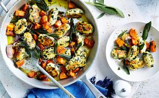 Spinach and ricotta gnocchi with kumara and sage