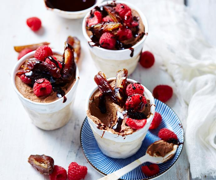 "The best thing about this [chocolate mousse](https://www.womensweeklyfood.com.au/recipes/dark-chocolate-and-ricotta-mousse-10529|target=""_blank"") is that it can be served the minute it is made. If you do wish to make it a day ahead, refrigerate, covered, then bring to room temperature before serving. You could also top each serving with cherries."