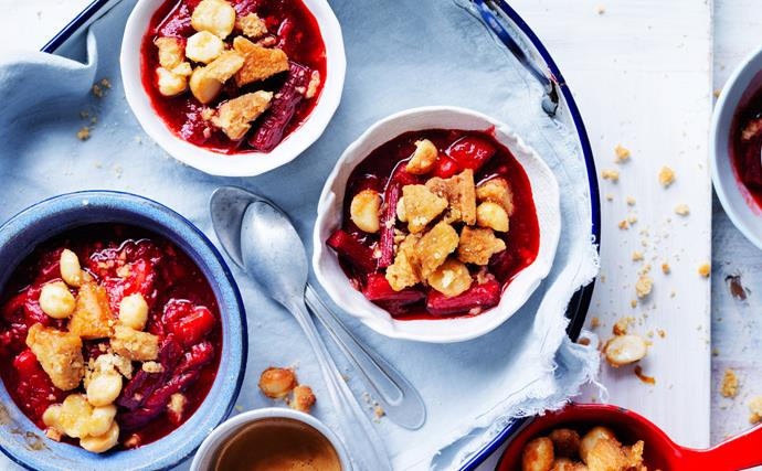 Spiced rhubarb and strawberry crumbles