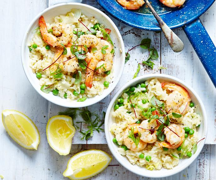 """**[Fennel, lemon, pea & prawn risotto](https://www.womensweeklyfood.com.au/recipes/fennel-pea-and-prawn-risotto-32319 target=""""_blank"""")**   The lemon and fennel gives this fragrant seafood risotto a lovely fresh flavour. Bursts of fresh pea add sweetness and flavour."""
