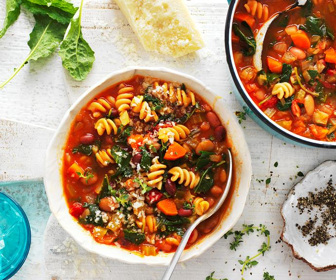 """**[Minestrone soup](https://www.womensweeklyfood.com.au/recipes/minestrone-soup-32330