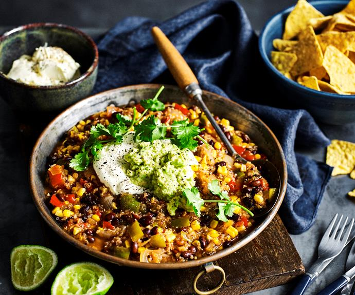 """**[Quinoa, black bean & chipotle chilli](https://www.womensweeklyfood.com.au/recipes/quinoa-black-bean-and-chipotle-chilli-32340 target=""""_blank"""")**  This tasty vegetarian chilli is full of the goodness of black bean and quinoa. Serve with corn chips and guacamole for a tasty vegetarian meal."""