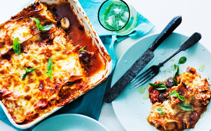 frying pan vegetable and ricotta lasagne