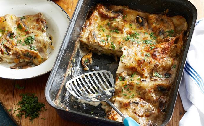 Leek and mushroom lasagne