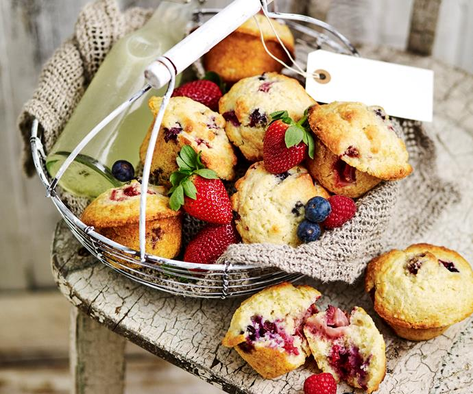 """These [berry buttermilk muffins](https://www.womensweeklyfood.com.au/recipes/berry-muffins-13813