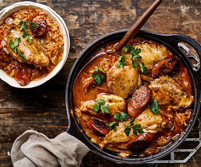 "**[Chicken and chorizo gumbo](https://www.womensweeklyfood.com.au/recipes/chicken-and-chorizo-gumbo-32353|target=""_blank"")**  Dive into this spicy gumbo."