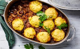 Chilli con carne with corn dumplings