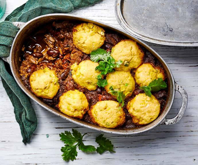 """**[Chilli con carne with corn dumplings](https://www.womensweeklyfood.com.au/recipes/chilli-con-carne-with-corn-dumplings-27161