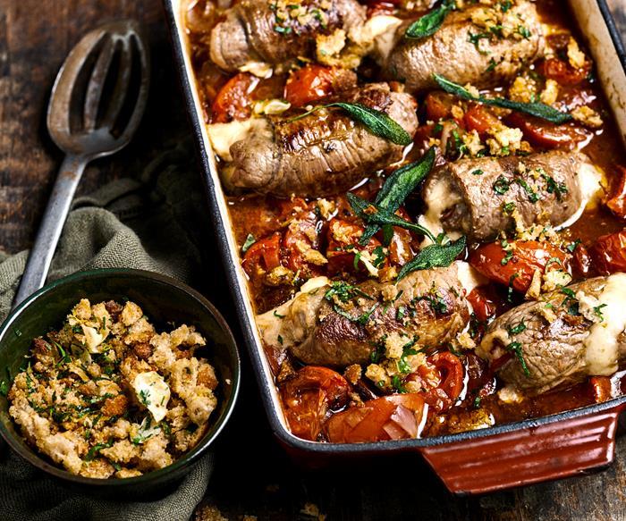 Roasted tomato and sage involtini stew