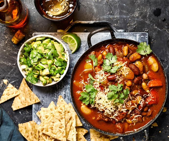 "**[Vegetarian chilli beans](https://www.womensweeklyfood.com.au/recipes/vegetarian-chilli-beans-32358|target=""_blank"")**  When it's cold outside, curl up with this cozy comfort food."