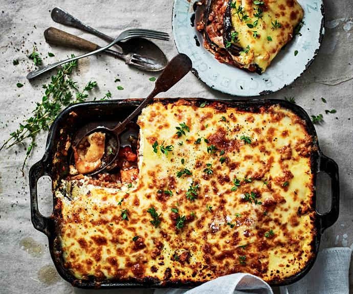 """This [cheesy eggplant and lentil bake](https://www.womensweeklyfood.com.au/recipes/cheesy-eggplant-and-lentil-bake-32359
