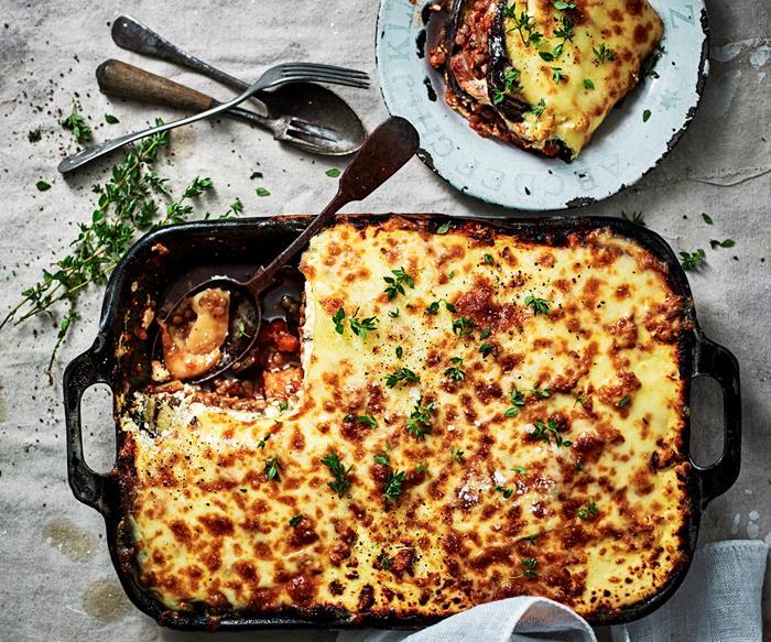 Cheesy eggplant and lentil bake
