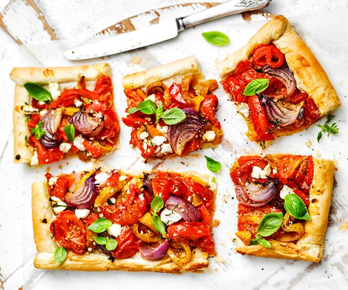 """**[Roasted vegetable filo tart](https://www.womensweeklyfood.com.au/recipes/roasted-vegetable-filo-tart-16275