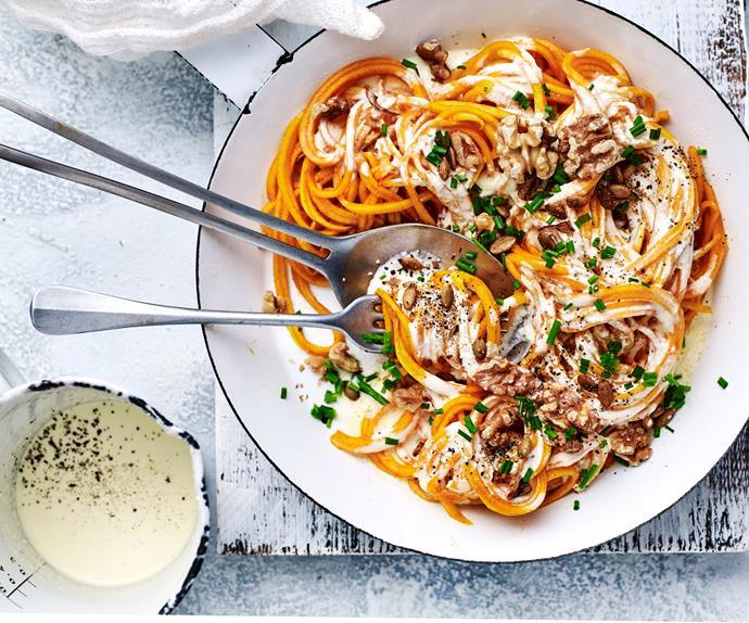 Creamy bacon pumpkin spaghetti