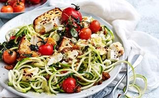 Zucchini spaghetti with baked fetta and chickpea croutons