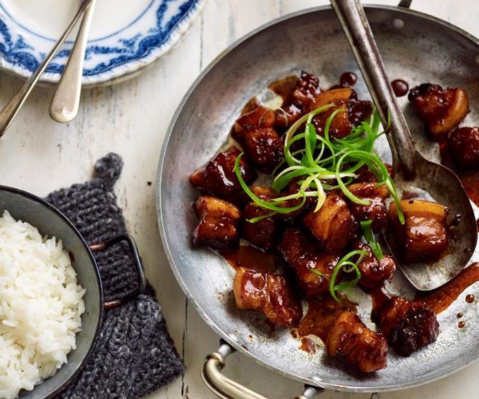 """**[Caramelised pepper pork](https://www.womensweeklyfood.com.au/recipes/caramelised-pepper-pork-10555 target=""""_blank"""")**  These rich, succulent bites of caramelised pepper pork taste like they've been slow-cooked for hours, but only takes 20 minutes in a pressure cooker."""