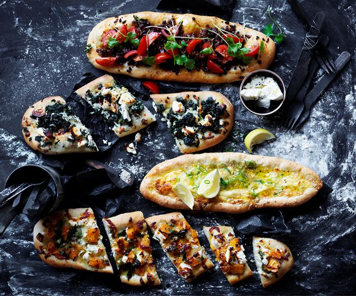 Basic pide with four toppings