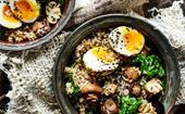 Brown rice and mushroom bowl with dukkah eggs