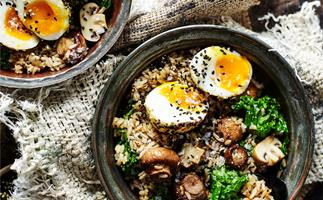 Brown rice and mushroom bowl with dukkah eggs