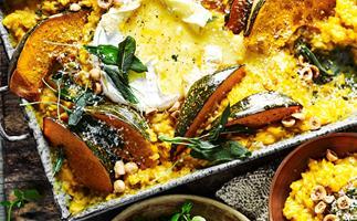 Pumpkin, sage and camembert risotto