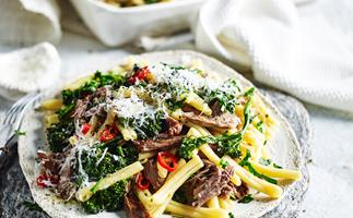 Slow-cooked lamb and rosemary pasta