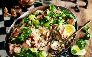 Spiced salmon and broccoli pilaf