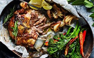 Slow-cooked Greek lamb with chilli garlic broccolini