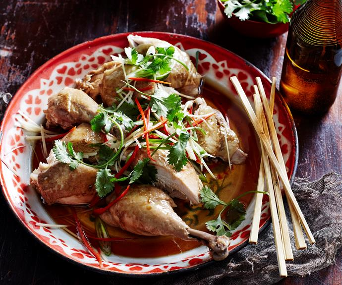 """**[Poached chicken with soy and sesame](https://www.womensweeklyfood.com.au/recipes/poached-chicken-with-soy-and-sesame-4924 target=""""_blank"""")**"""
