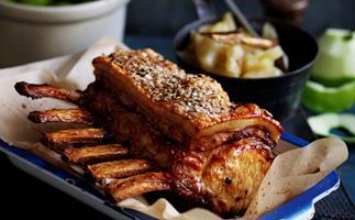Roast pork with apple sauce