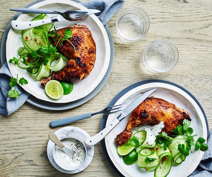 "**[Tandoori chicken with cucumber salad](https://www.womensweeklyfood.com.au/recipes/tandoori-chicken-with-cucumber-salad-20978|target=""_blank"")**  The char-grill gives it that smoky tandoori flavour."