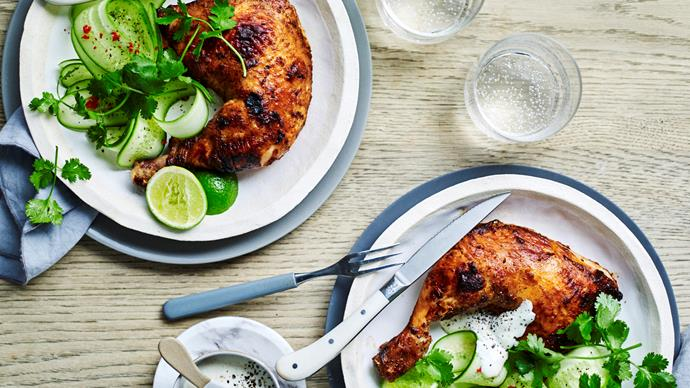 Tandoori chicken with cucumber salad