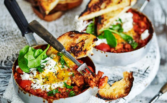 Stovetop 'baked' eggs