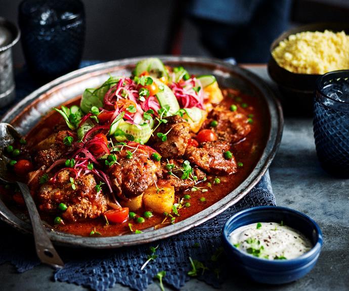 "**[Garam masala chicken with potatoes](https://www.womensweeklyfood.com.au/recipes/garam-masala-chicken-32447|target=""_blank"")**  Spice things up."
