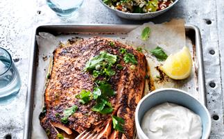 baked salmon with tahini sauce & tabbouleh